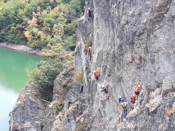 PIC - Youngsters tackle via ferrata during the Ternua and CREPS project supported by an itsgreatoutthere grant