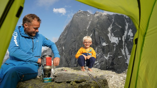 PIC 2. Leo and Jackson Houlding at camp on their Piz Badile adventure
